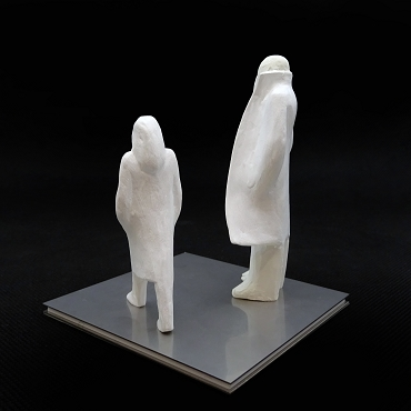Sculpture for sale by Kazuhiko Tanaka of a father and his daughter.