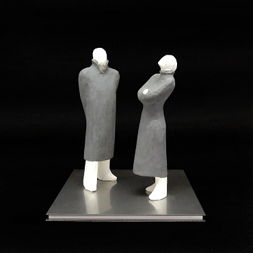 Sculpture for sale of a couple walking by artist Kazuhiko Tanaka